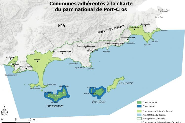 Carte territoire du parc national de Port-Cros
